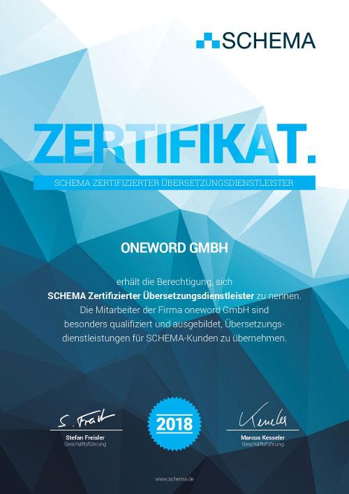 Schema-Zertifikat