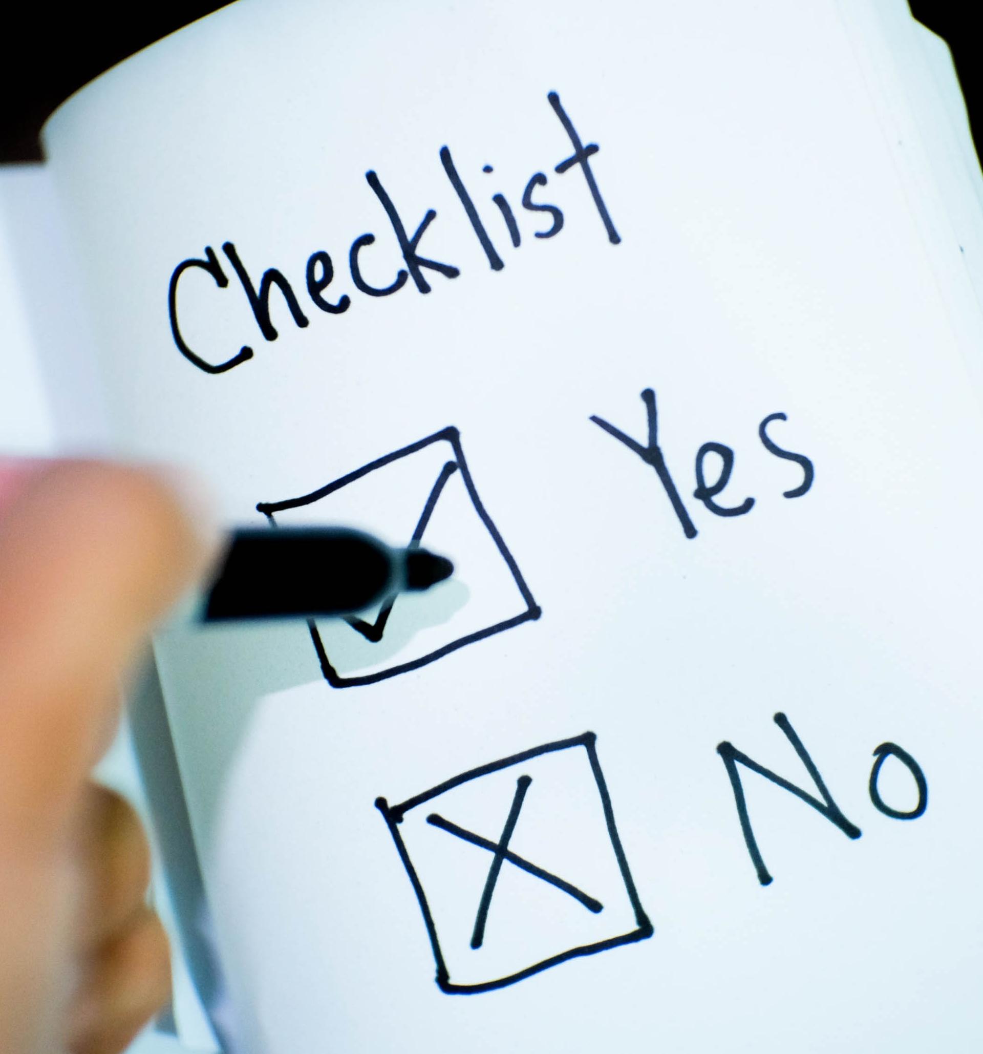 """Eine Checkliste mit """"Yes"""" und """"No"""" zum Ankreuzen"""