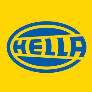 Blau-gelbes Logo der Firma Hella