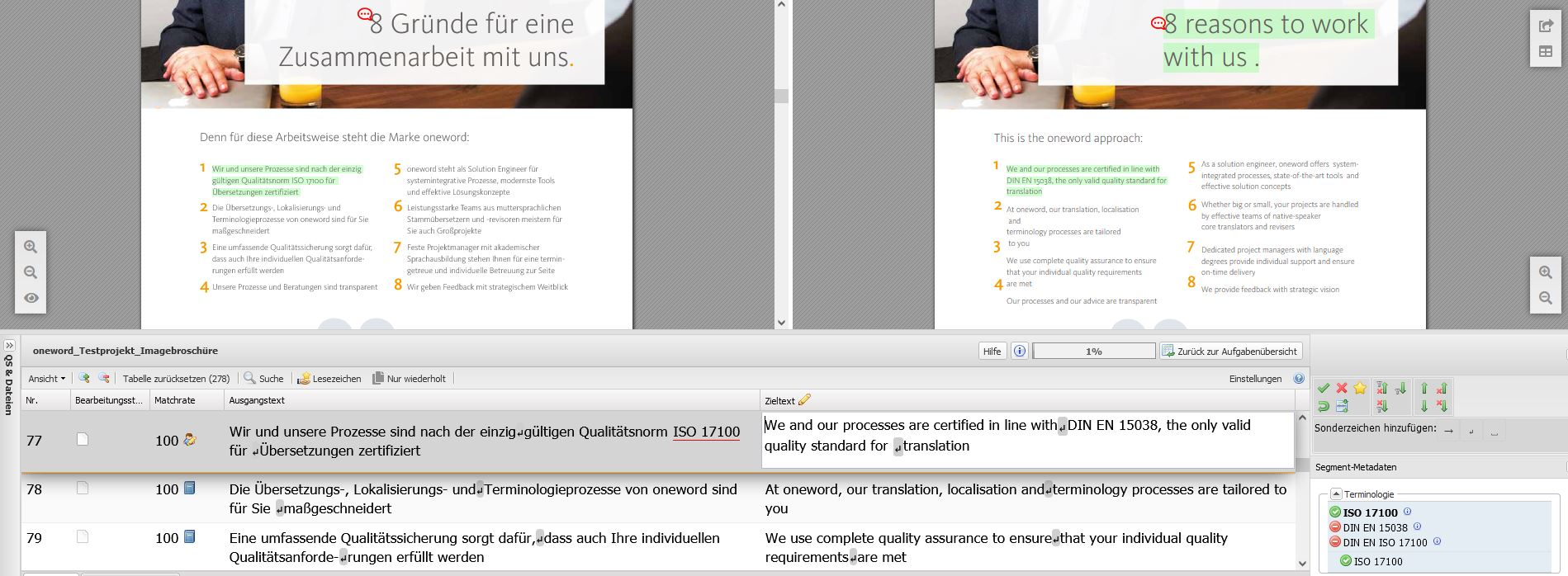 oneReview Screenshot mit Layout-Ansicht