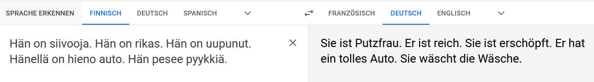 Gendern in der maschinellen Übersetzung ; Screenshot1