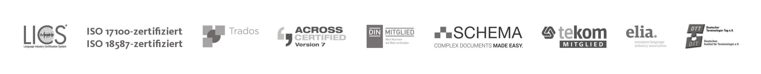 Übersetzungsbüro oneword; Leiste mit Logos
