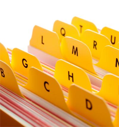 Terminologieverwaltung oneTerm; gelbe Karteireiter