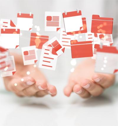 Auftragsportal oneTask, zwei Hände mit schwebenden Dateisymbolen