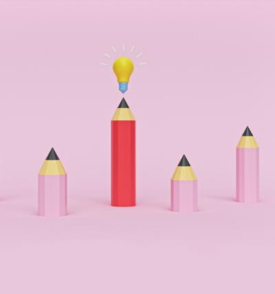 Transkreation Tipps; rosa Bleistifte mit Glühbirne